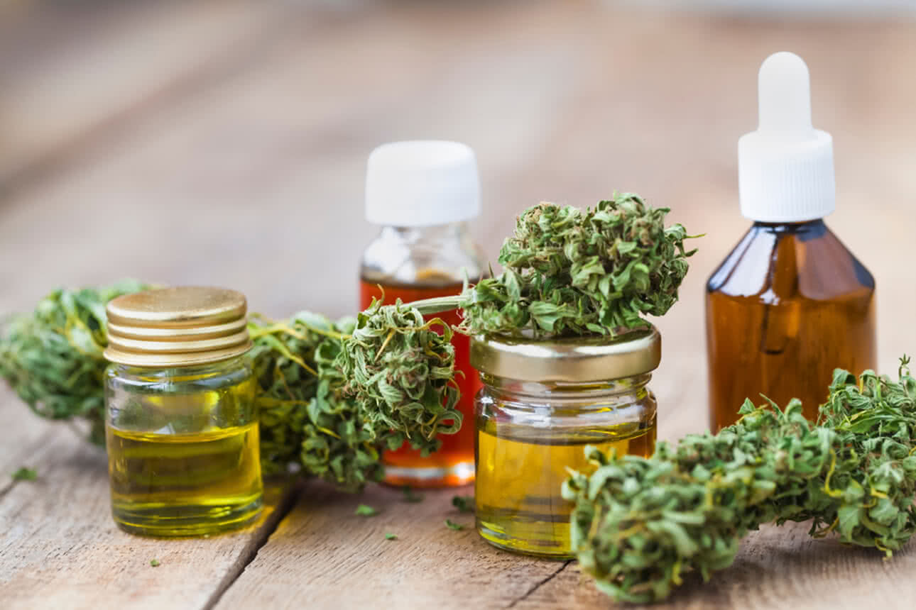 Cannabis oils, vapes, and flower products.
